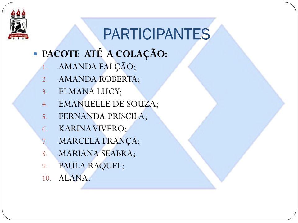PARTICIPANTES PACOTE ATÉ A COLAÇÃO: AMANDA FALÇÃO; AMANDA ROBERTA;