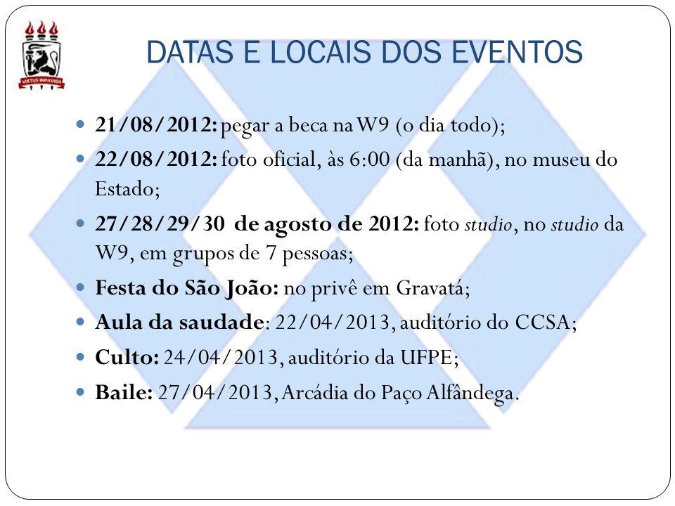 DATAS E LOCAIS DOS EVENTOS