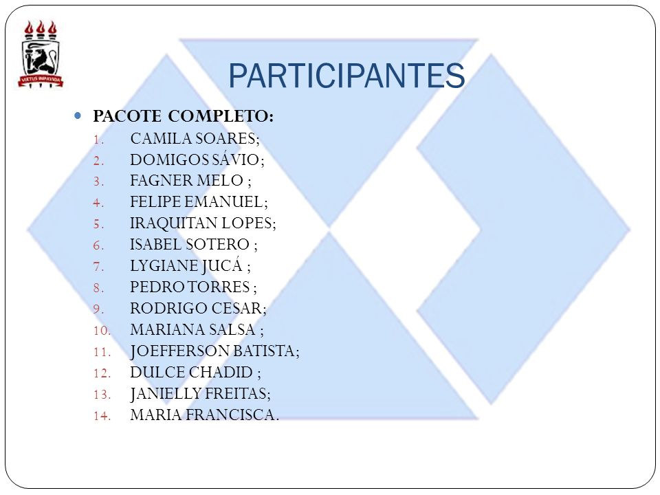 PARTICIPANTES PACOTE COMPLETO: CAMILA SOARES; DOMIGOS SÁVIO;