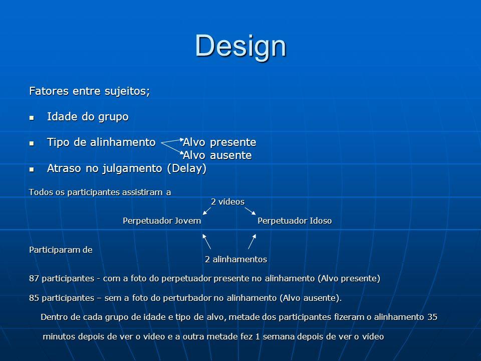 Design Fatores entre sujeitos; Idade do grupo