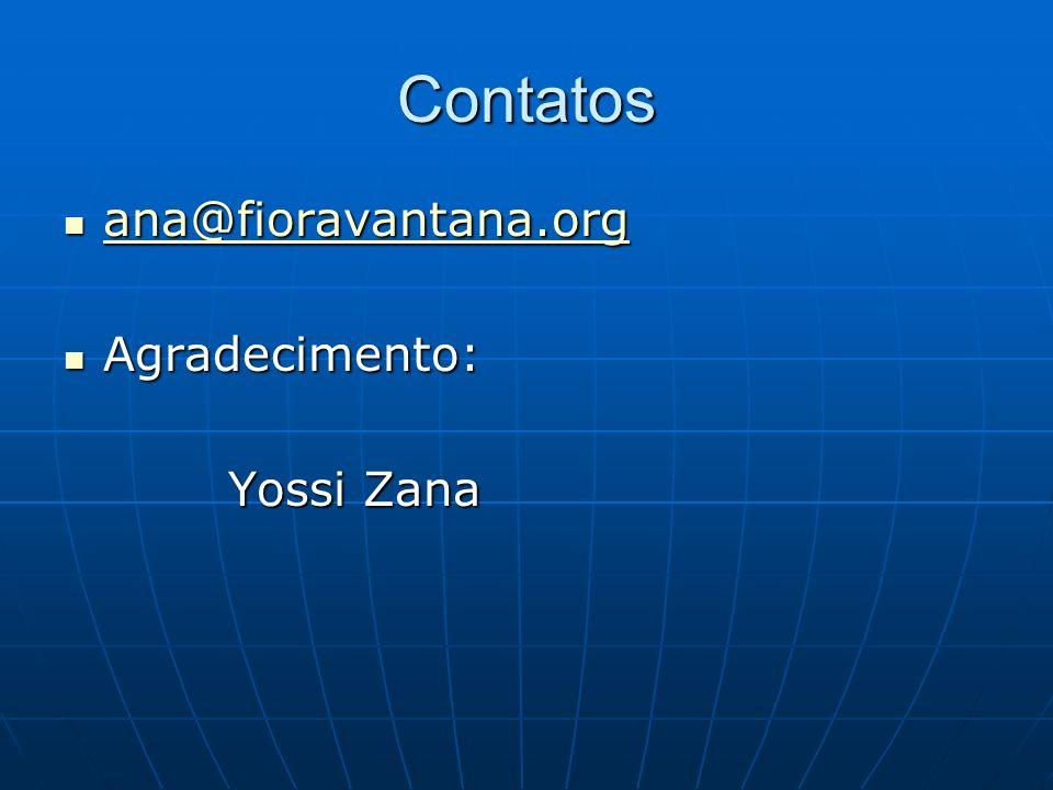 Contatos ana@fioravantana.org Agradecimento: Yossi Zana