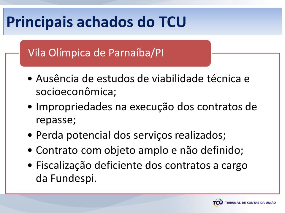 Principais achados do TCU