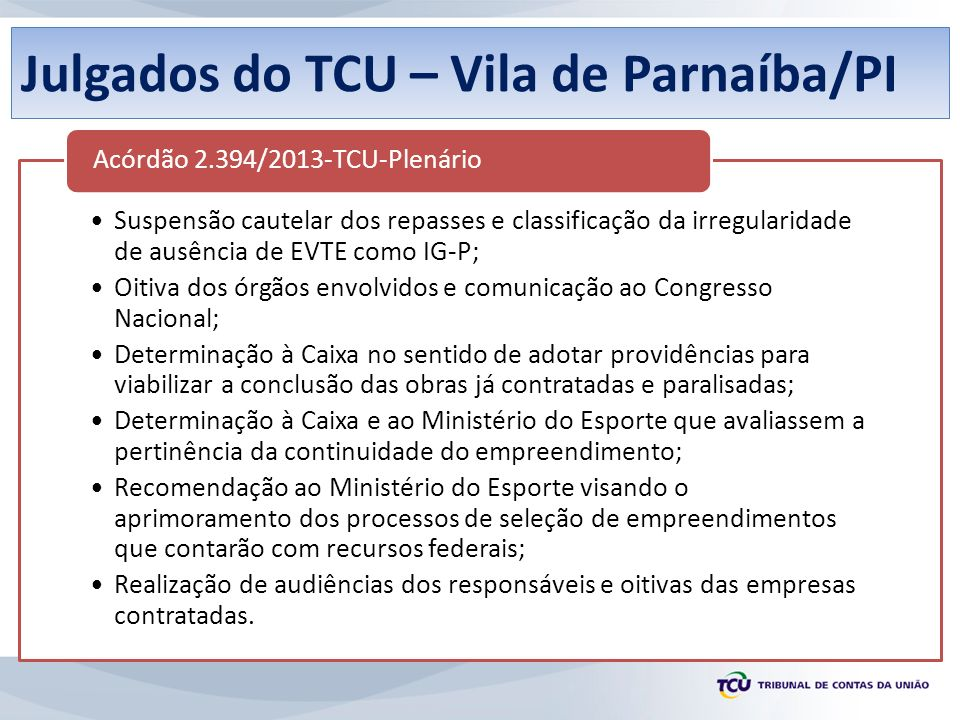 Julgados do TCU – Vila de Parnaíba/PI