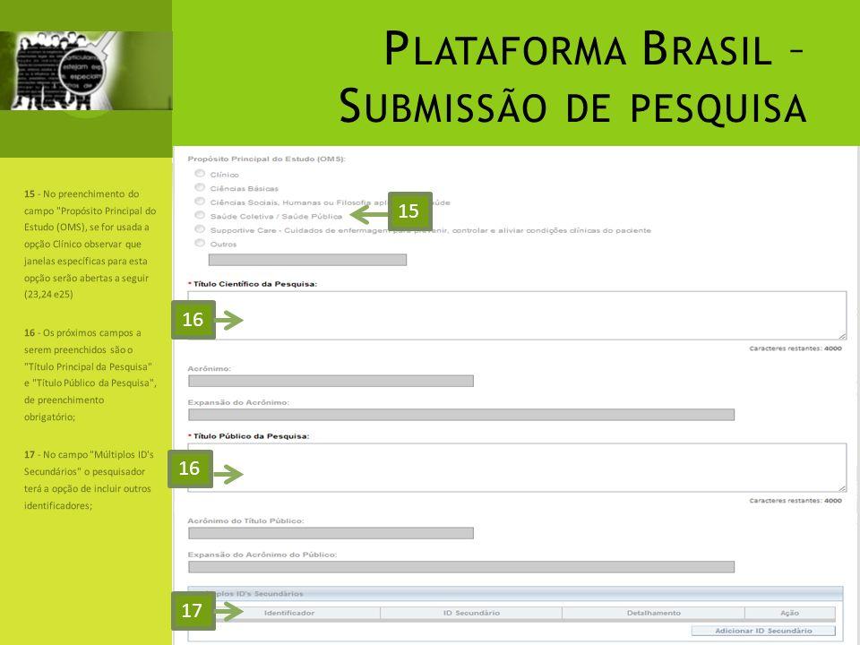 Plataforma Brasil – Submissão de pesquisa