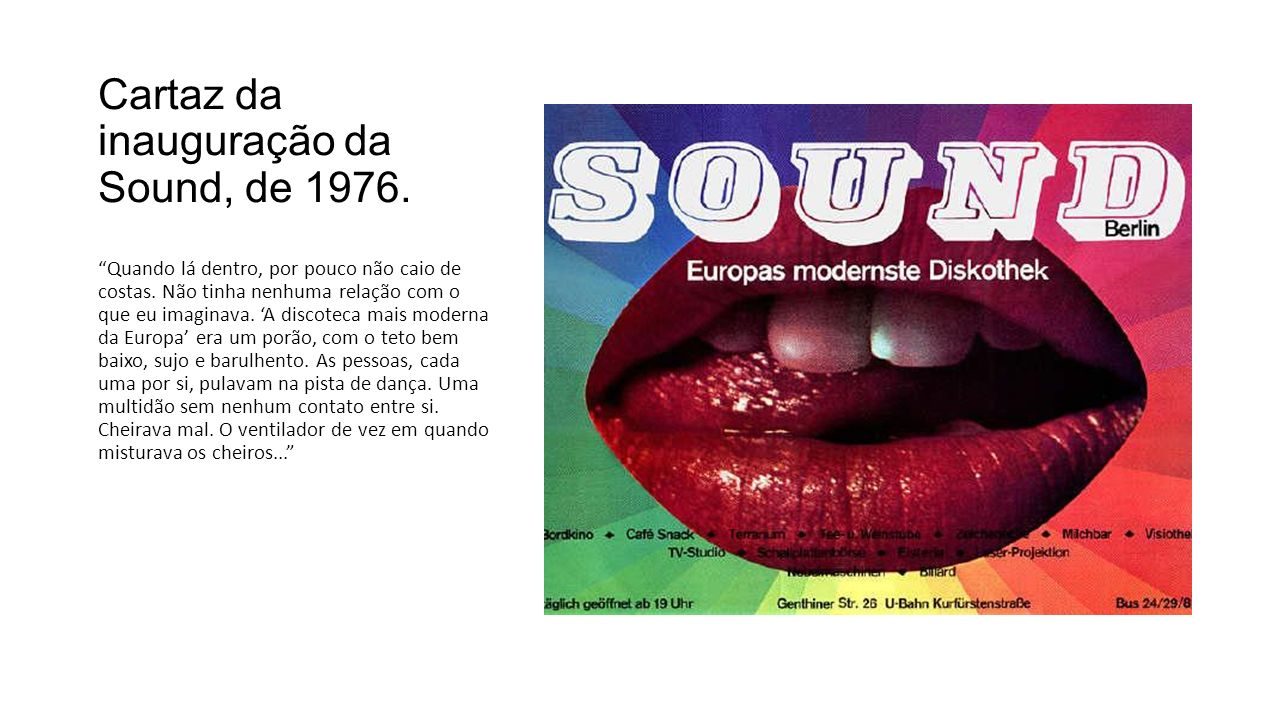 Cartaz da inauguração da Sound, de 1976.