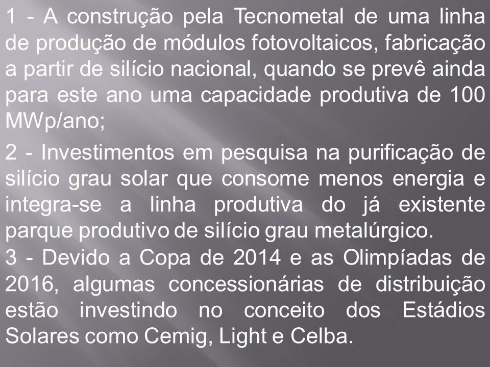 1 - A construção pela Tecnometal de uma linha de produção de módulos fotovoltaicos, fabricação a partir de silício nacional, quando se prevê ainda para este ano uma capacidade produtiva de 100 MWp/ano;