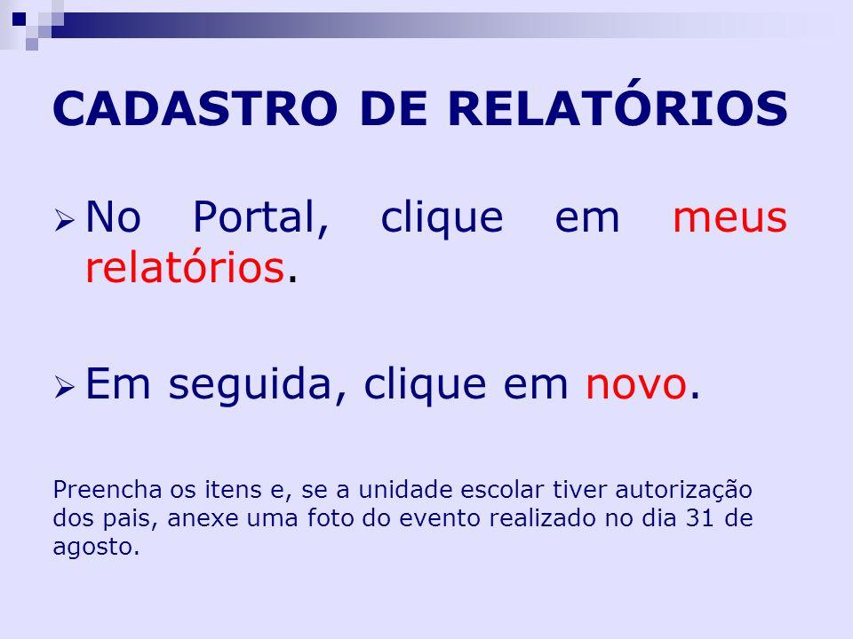 CADASTRO DE RELATÓRIOS