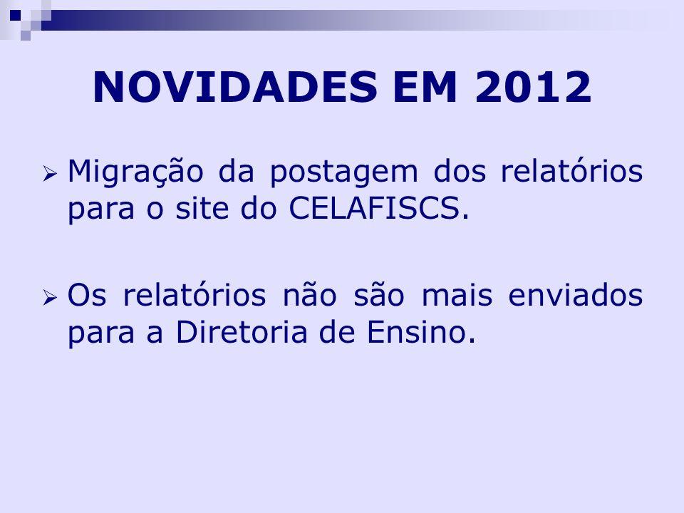 NOVIDADES EM 2012 Migração da postagem dos relatórios para o site do CELAFISCS.