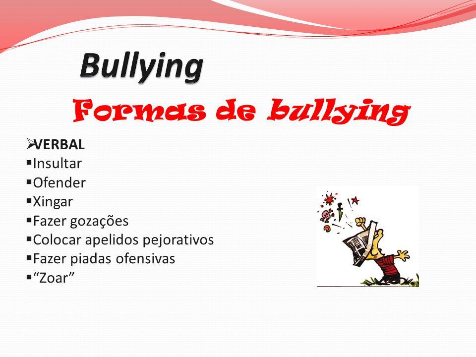 Bullying Formas de bullying VERBAL Insultar Ofender Xingar