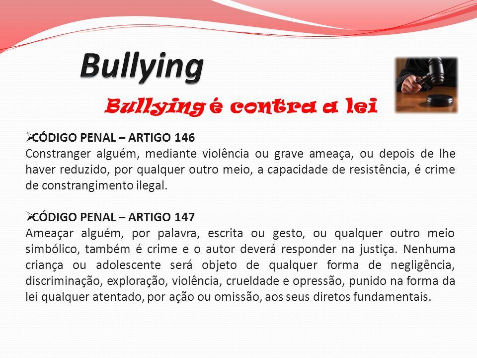 Bullying Bullying é contra a lei CÓDIGO PENAL – ARTIGO 146