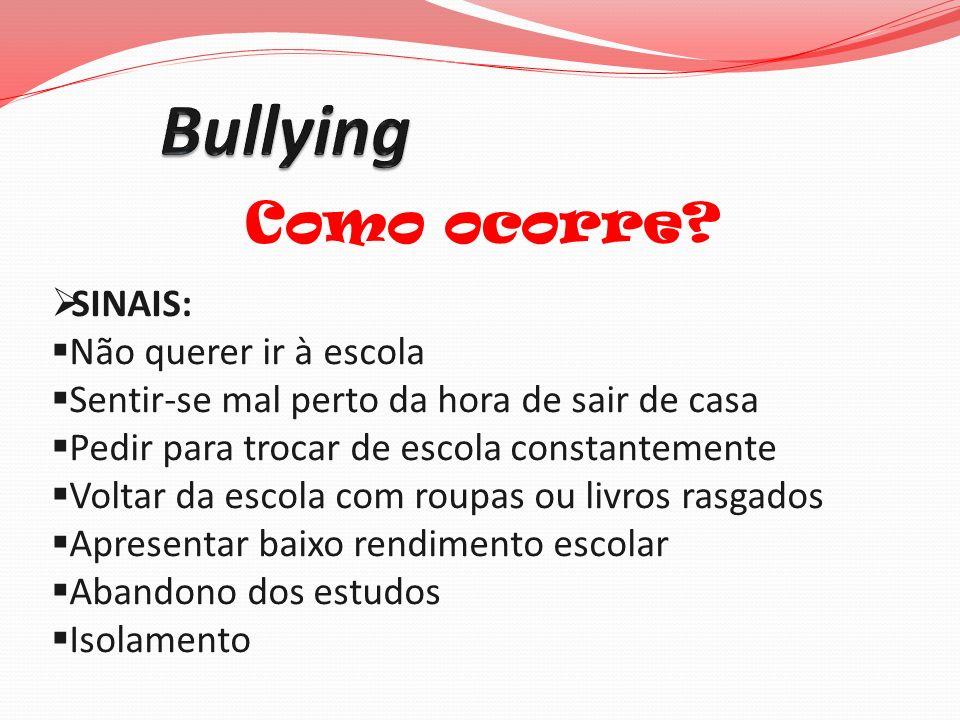Bullying Como ocorre SINAIS: Não querer ir à escola