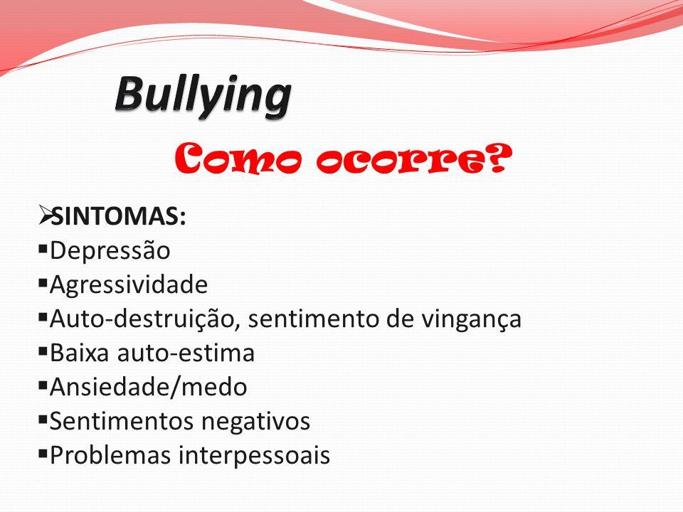 Bullying Como ocorre SINTOMAS: Depressão Agressividade