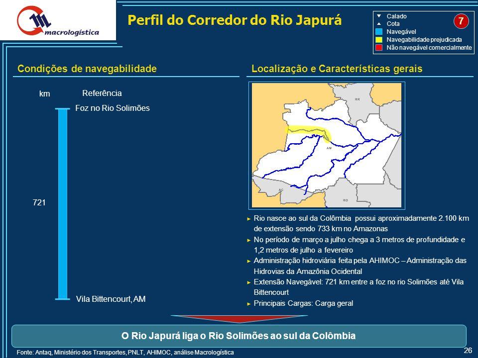 O Rio Japurá liga o Rio Solimões ao sul da Colômbia