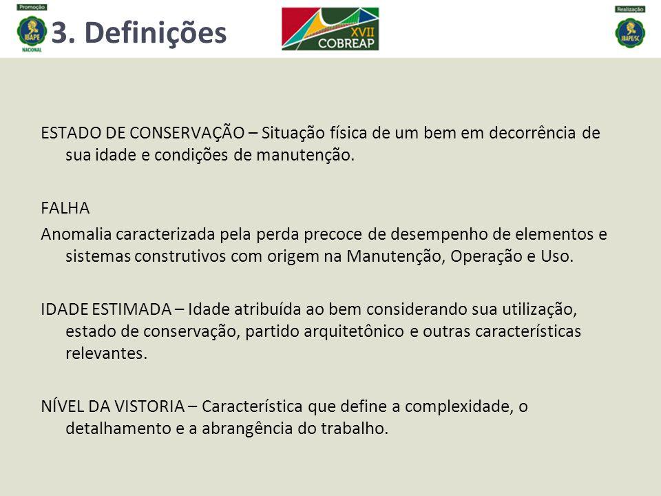 3. Definições ESTADO DE CONSERVAÇÃO – Situação física de um bem em decorrência de sua idade e condições de manutenção.