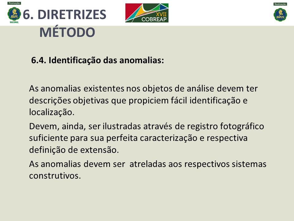 6. DIRETRIZES MÉTODO 6.4. Identificação das anomalias:
