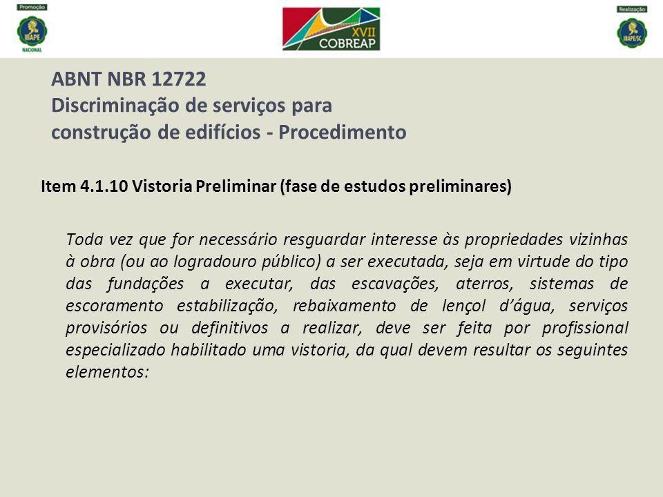 ABNT NBR 12722 Discriminação de serviços para construção de edifícios - Procedimento