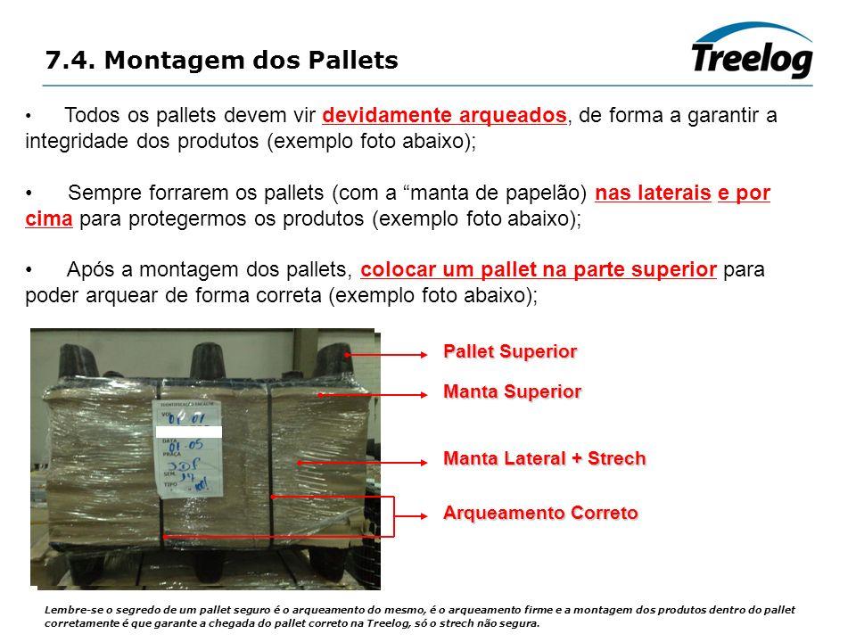 7.4. Montagem dos Pallets Todos os pallets devem vir devidamente arqueados, de forma a garantir a integridade dos produtos (exemplo foto abaixo);