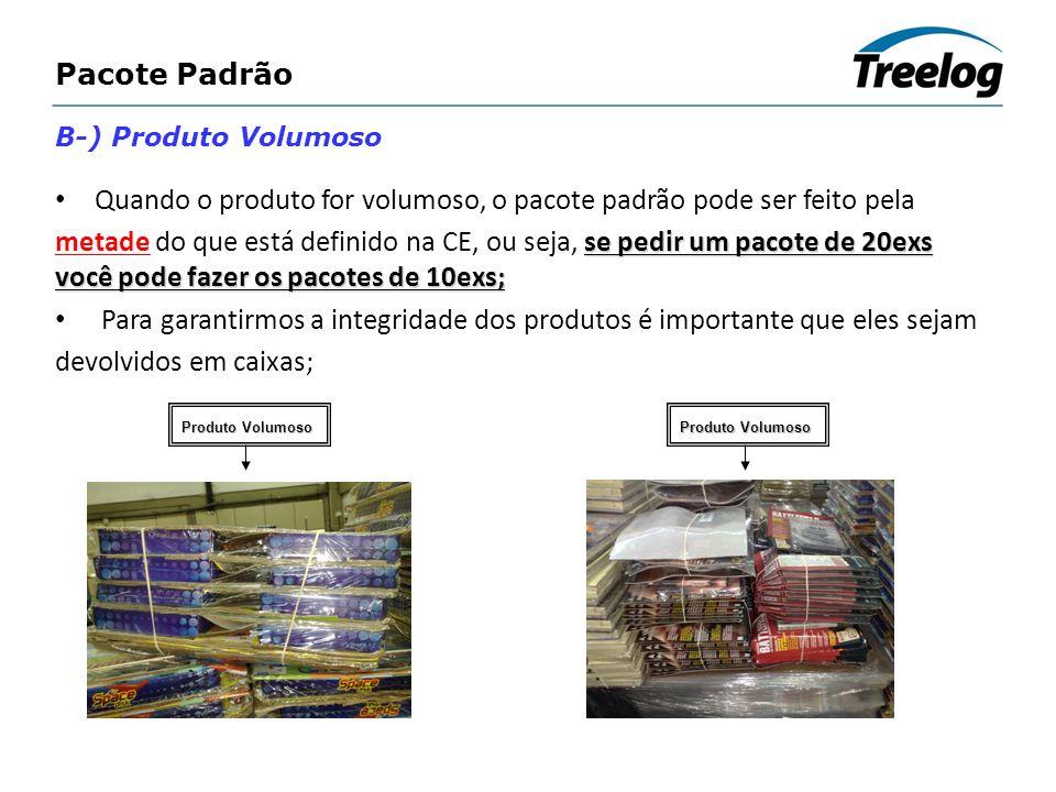 Quando o produto for volumoso, o pacote padrão pode ser feito pela