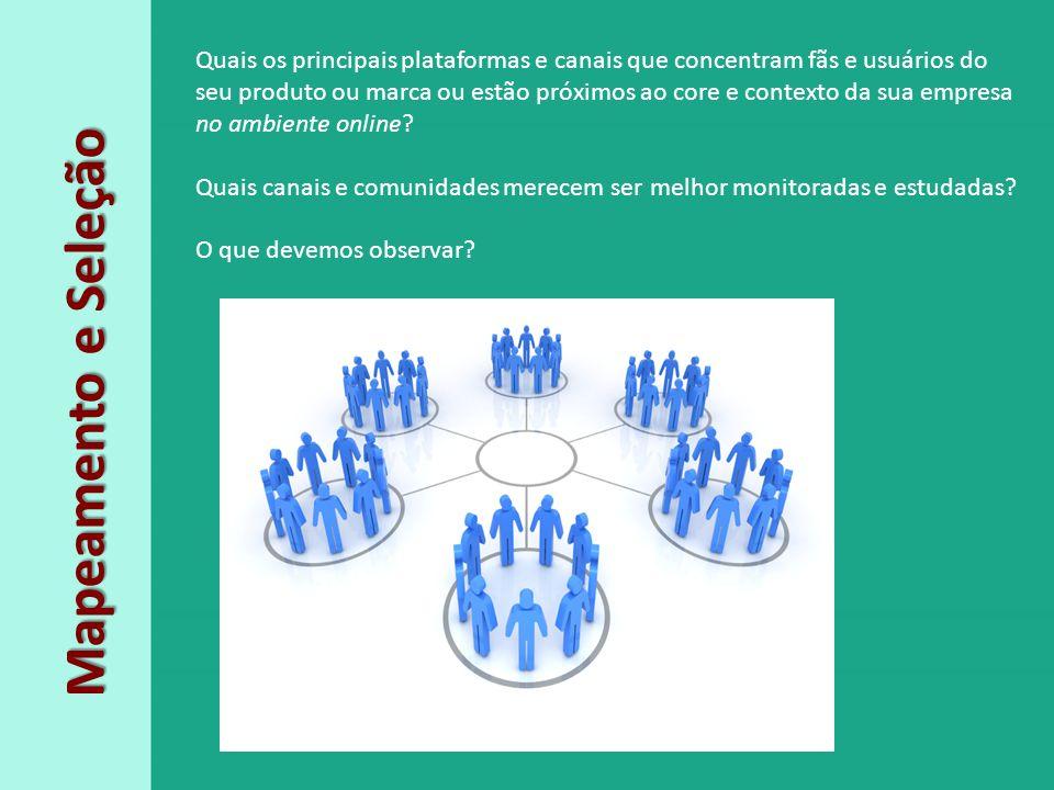 Quais os principais plataformas e canais que concentram fãs e usuários do seu produto ou marca ou estão próximos ao core e contexto da sua empresa no ambiente online