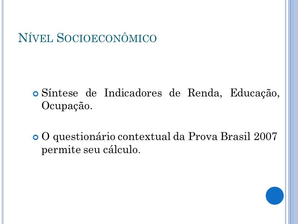 Nível Socioeconômico Síntese de Indicadores de Renda, Educação, Ocupação.
