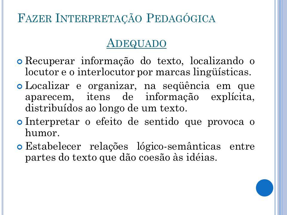 Fazer Interpretação Pedagógica