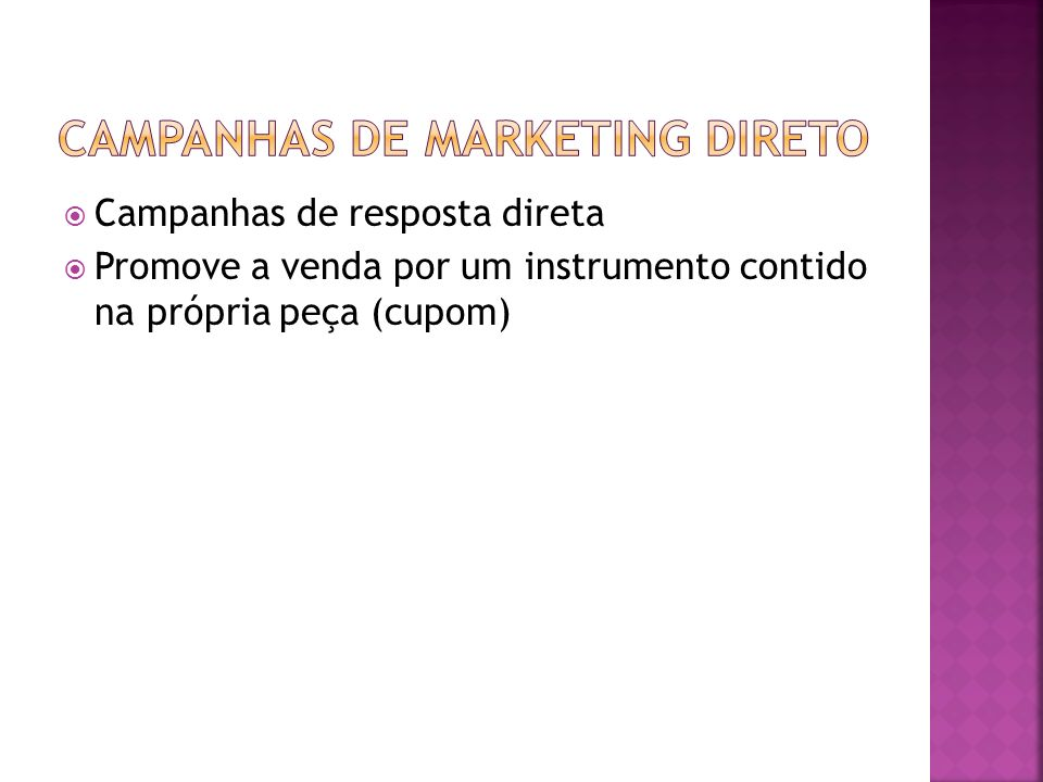CAMPANHAS DE MARKETING DIRETO