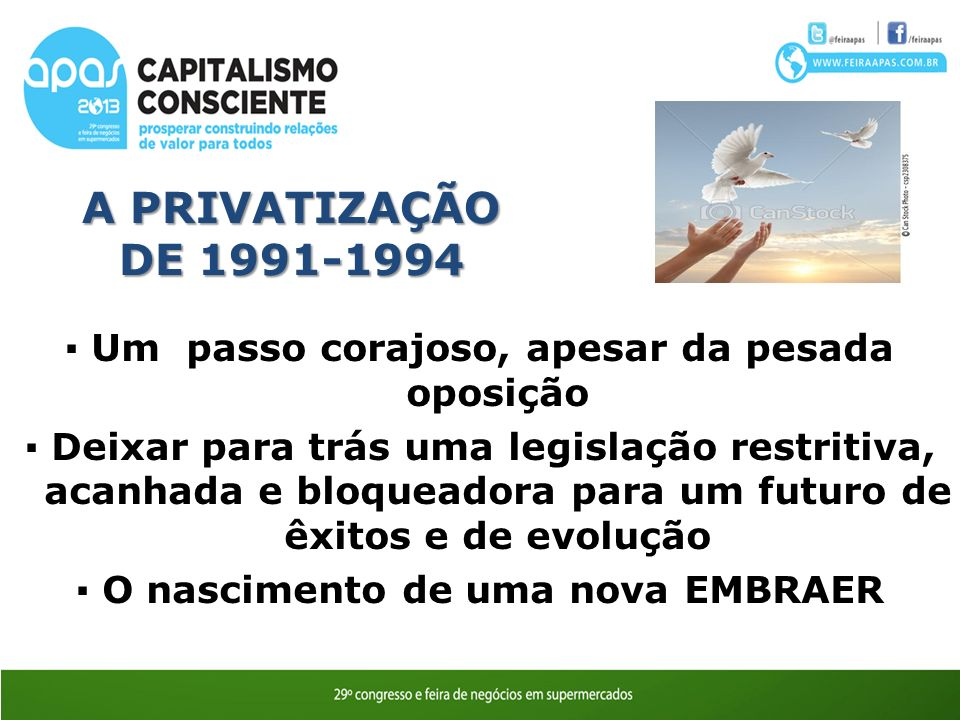 A PRIVATIZAÇÃO DE 1991-1994 ▪ Um passo corajoso, apesar da pesada oposição.
