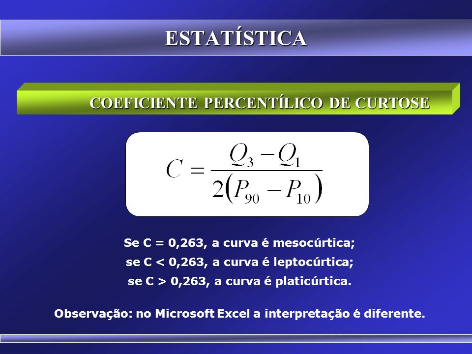 ESTATÍSTICA COEFICIENTE PERCENTÍLICO DE CURTOSE