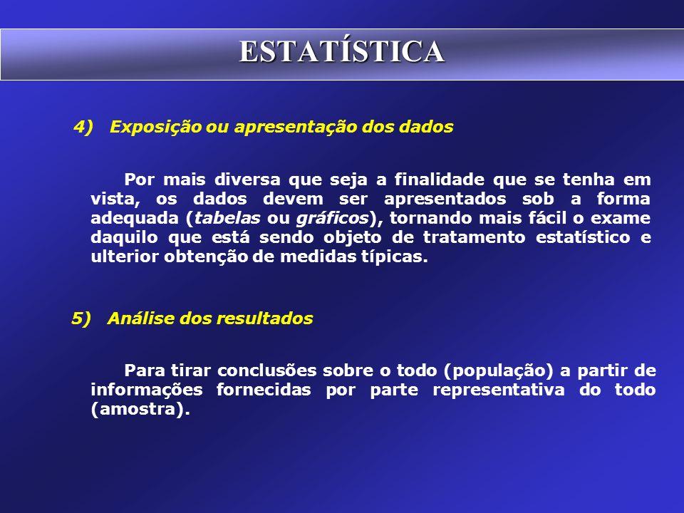 ESTATÍSTICA 4) Exposição ou apresentação dos dados