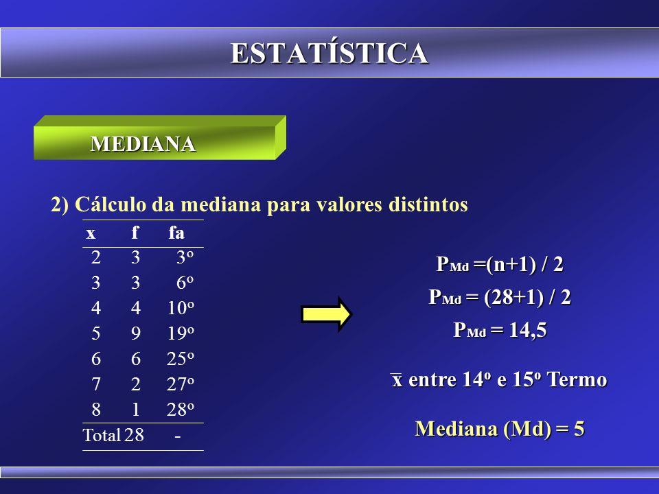 ESTATÍSTICA MEDIANA 2) Cálculo da mediana para valores distintos