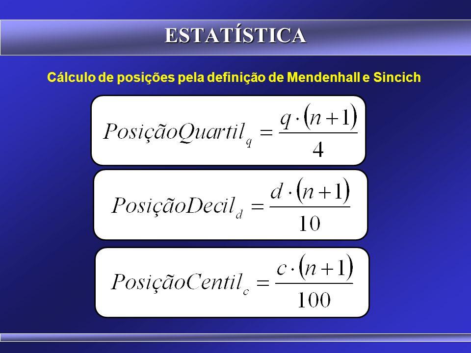 ESTATÍSTICA Cálculo de posições pela definição de Mendenhall e Sincich