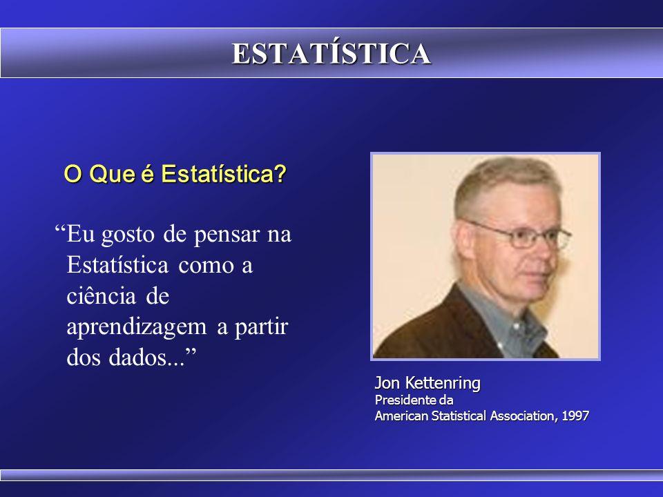 ESTATÍSTICA O Que é Estatística Eu gosto de pensar na Estatística como a ciência de aprendizagem a partir dos dados...