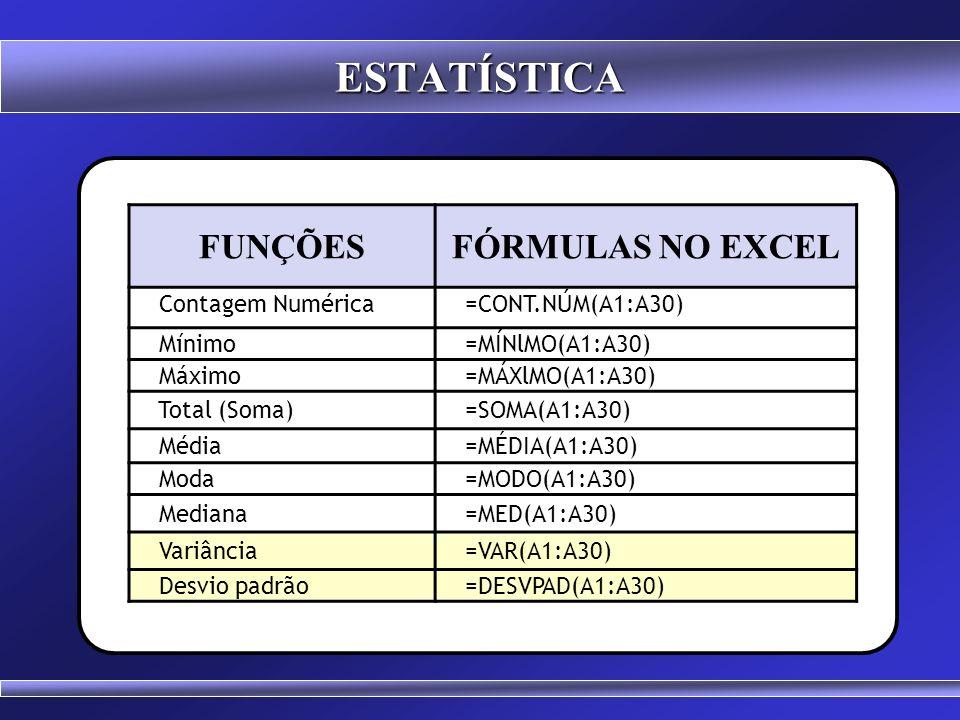 ESTATÍSTICA FUNÇÕES FÓRMULAS NO EXCEL Contagem Numérica