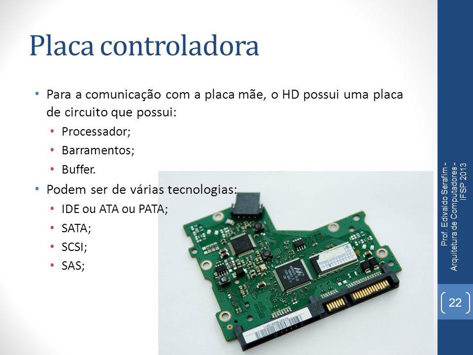 Placa controladora Para a comunicação com a placa mãe, o HD possui uma placa de circuito que possui: