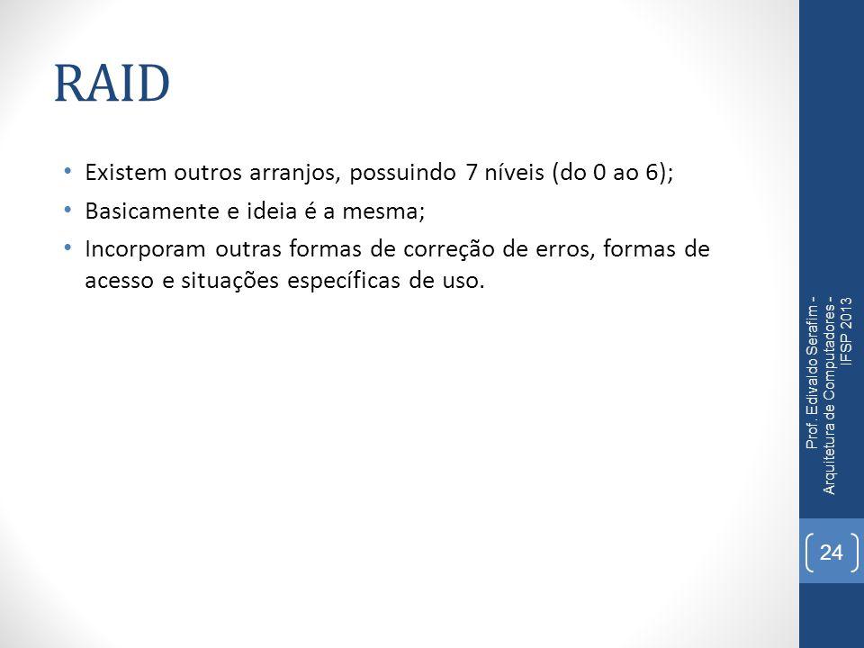 RAID Existem outros arranjos, possuindo 7 níveis (do 0 ao 6);