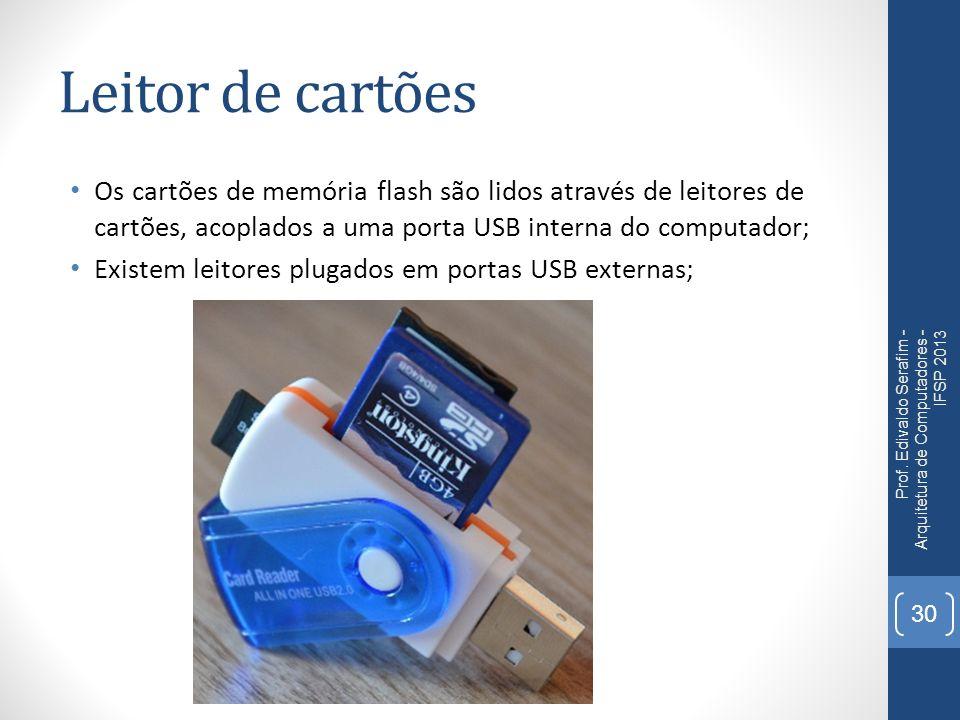 Leitor de cartões Os cartões de memória flash são lidos através de leitores de cartões, acoplados a uma porta USB interna do computador;