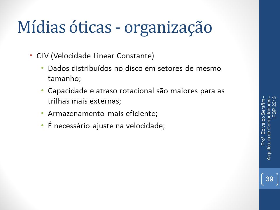 Mídias óticas - organização