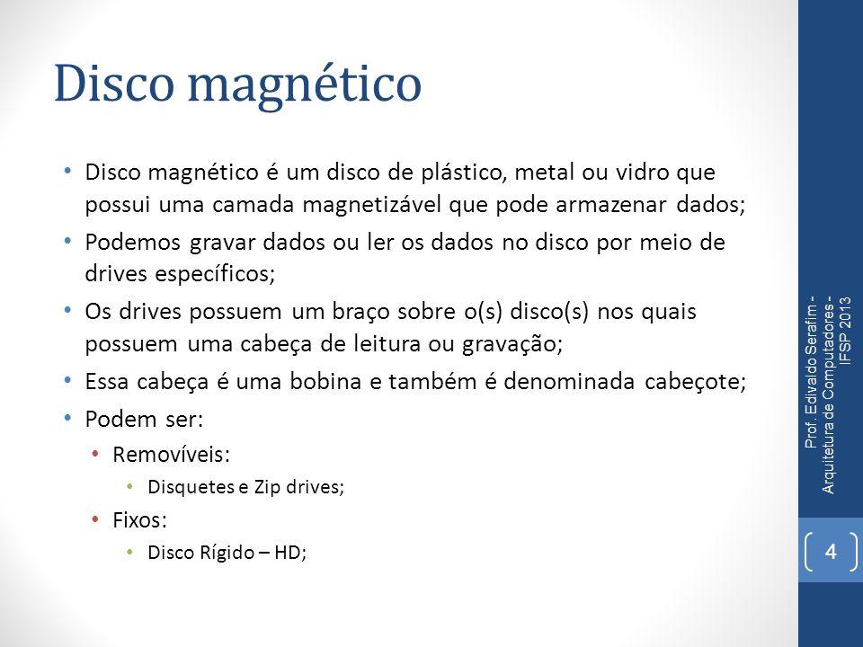 Disco magnético Disco magnético é um disco de plástico, metal ou vidro que possui uma camada magnetizável que pode armazenar dados;