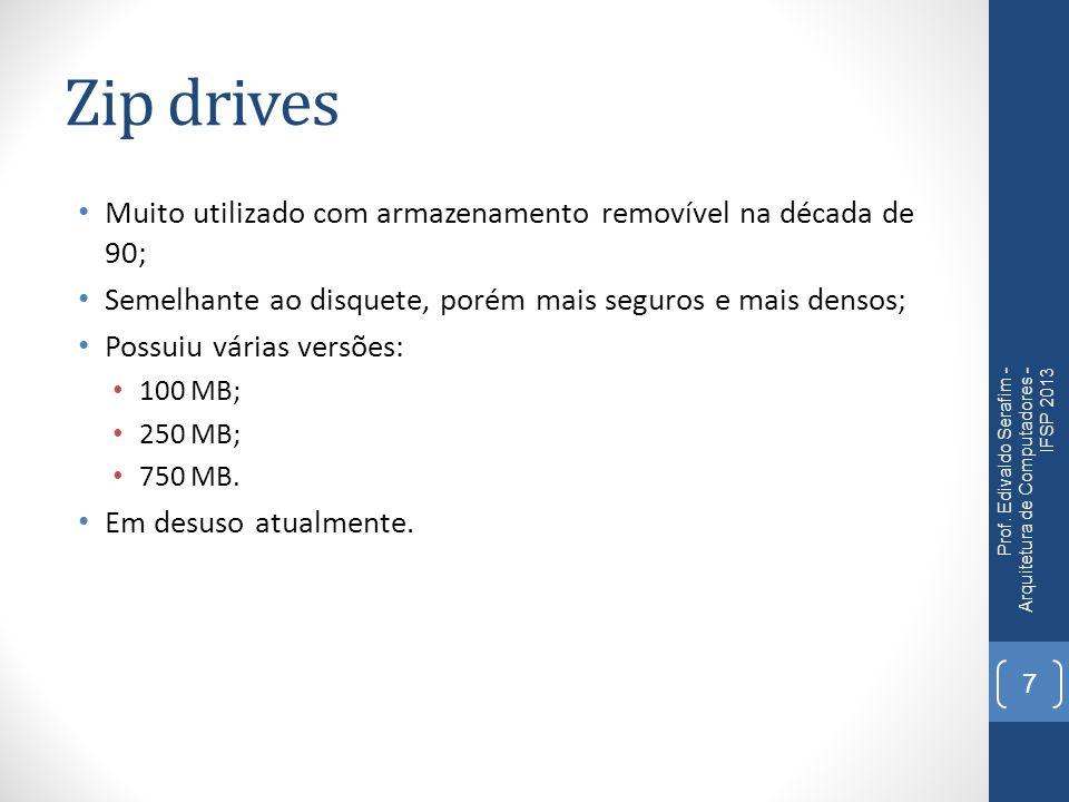 Zip drives Muito utilizado com armazenamento removível na década de 90; Semelhante ao disquete, porém mais seguros e mais densos;