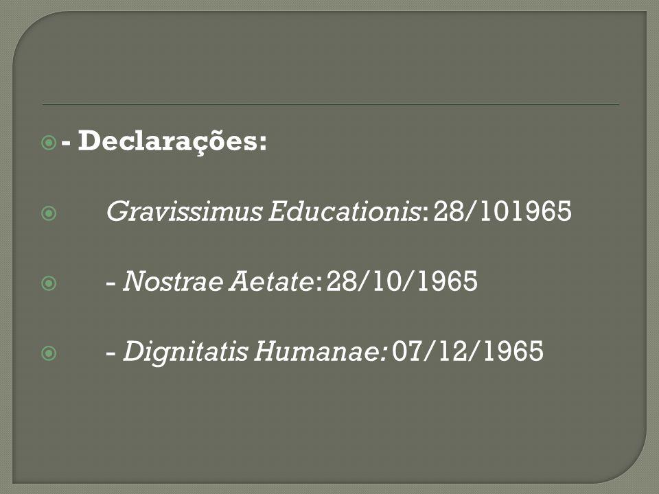 - Declarações: Gravissimus Educationis: 28/101965.