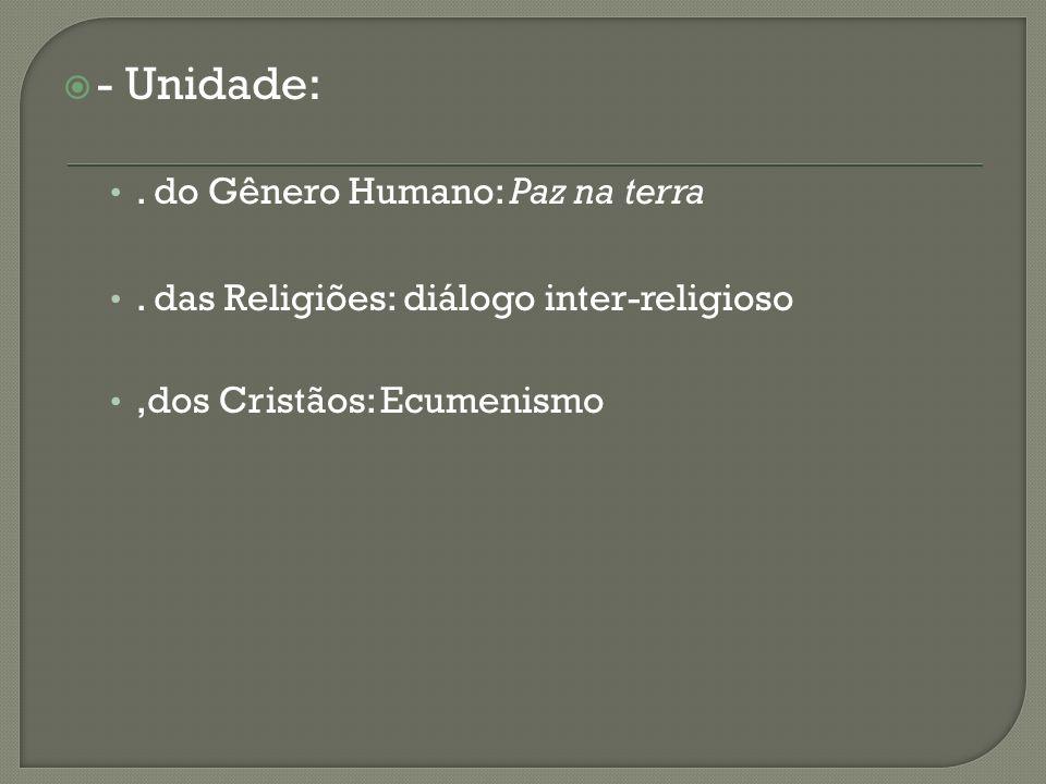 - Unidade: . do Gênero Humano: Paz na terra