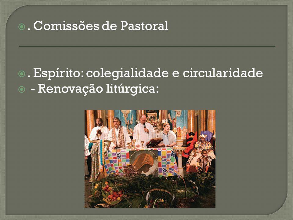 . Comissões de Pastoral . Espírito: colegialidade e circularidade - Renovação litúrgica: