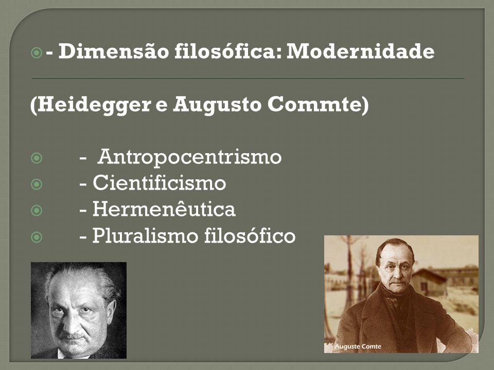 - Dimensão filosófica: Modernidade