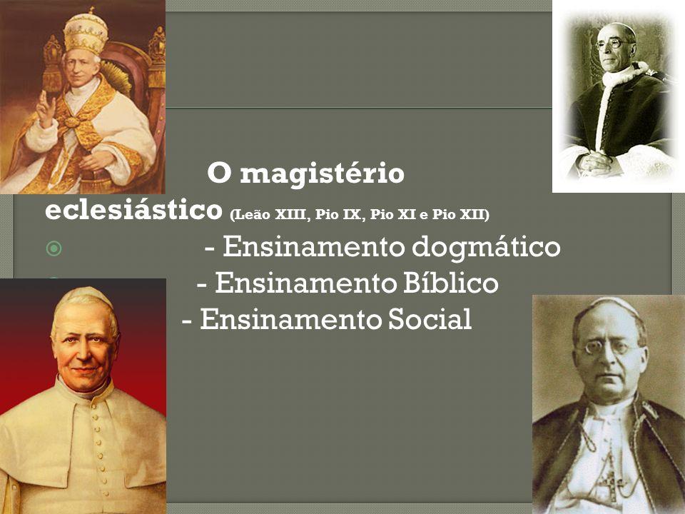 - O magistério eclesiástico (Leão XIII, Pio IX, Pio XI e Pio XII) - Ensinamento dogmático.
