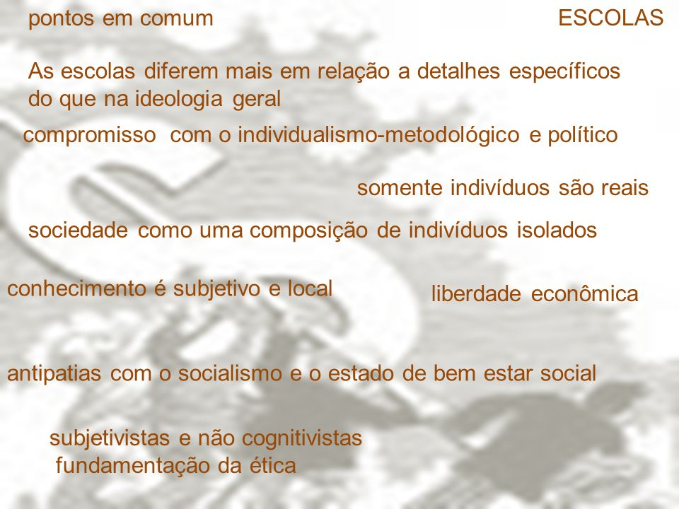 pontos em comum ESCOLAS. As escolas diferem mais em relação a detalhes específicos do que na ideologia geral.