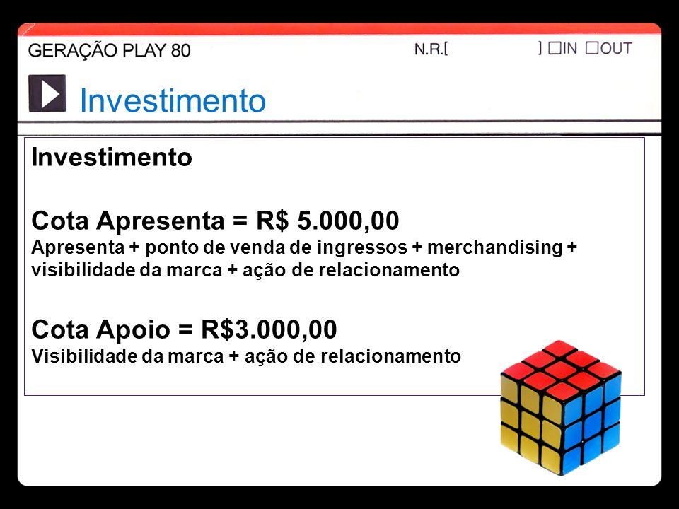 Investimento Investimento Cota Apresenta = R$ 5.000,00