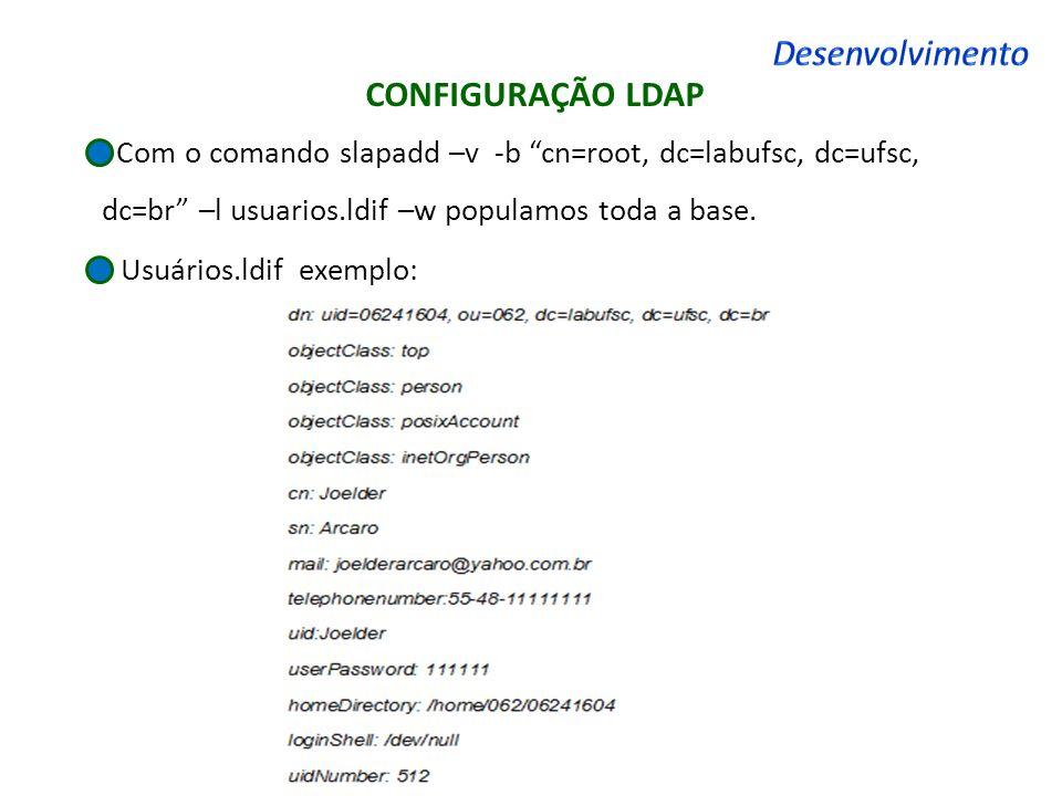 Desenvolvimento CONFIGURAÇÃO LDAP