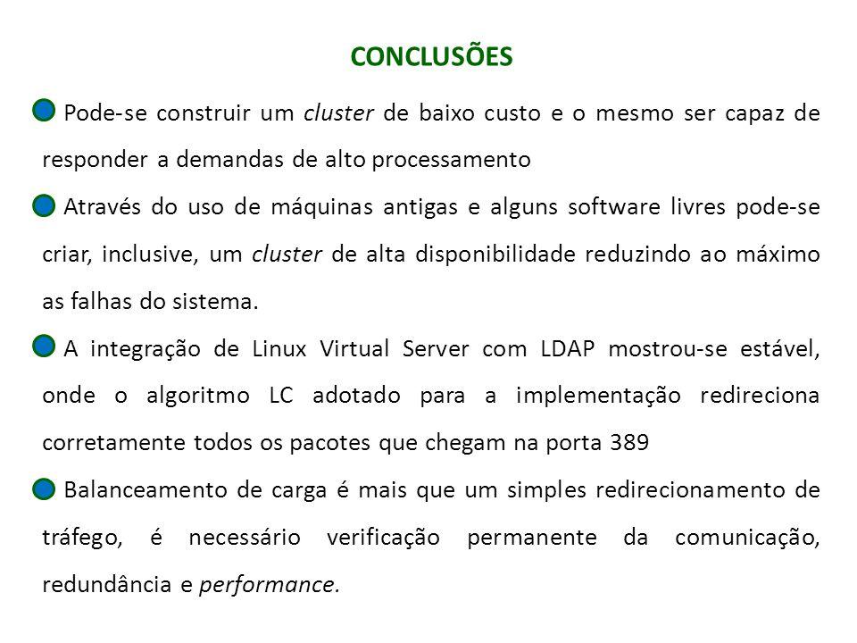 CONCLUSÕES Pode-se construir um cluster de baixo custo e o mesmo ser capaz de responder a demandas de alto processamento.