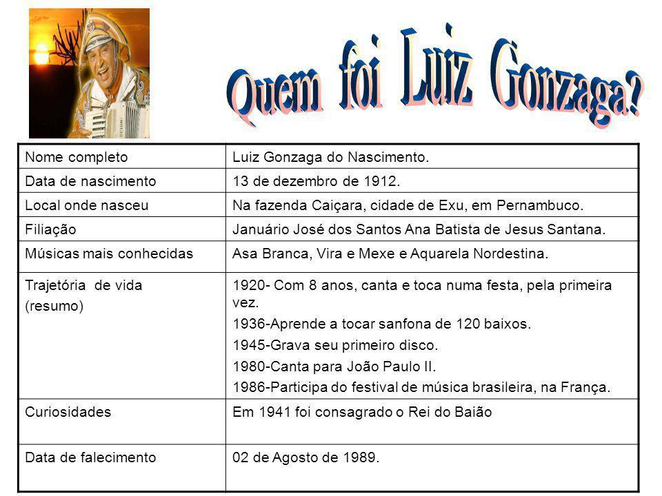 Quem foi Luiz Gonzaga Nome completo Luiz Gonzaga do Nascimento.