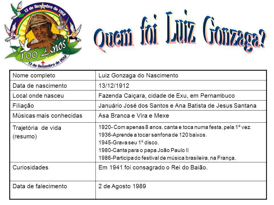 Quem foi Luiz Gonzaga FOTO Nome completo Luiz Gonzaga do Nascimento